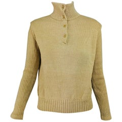 Courreges Tan Knit Rib Sleeve Pull on Sweater 1970s