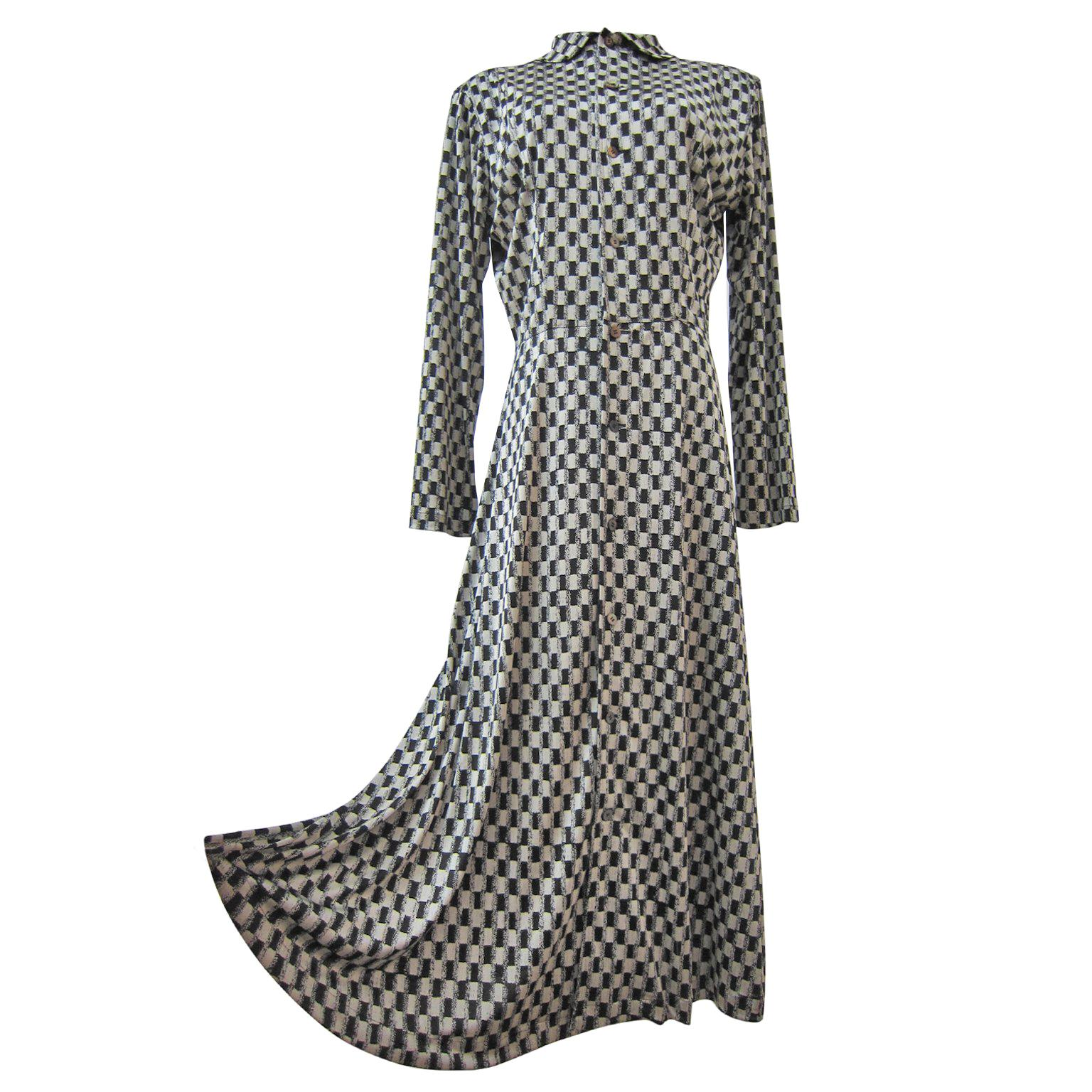 Comme des Garcons Tricot Black White Dress Coat Early 1980s