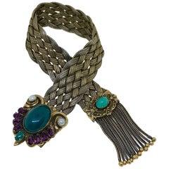 C.1940s Victorian Revival Goldtone Jeweled Tassel Bracelet
