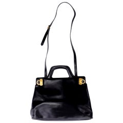 Salvatore Ferragamo Black Leather Top Handle Tote Handbag Shoulder Bag