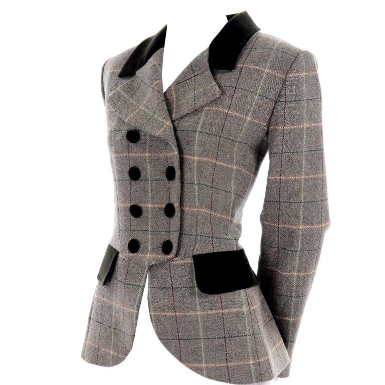 1995 Yves Saint Laurent Vintage Jacket in Cashmere Wool Green Plaid & Velvet For Sale