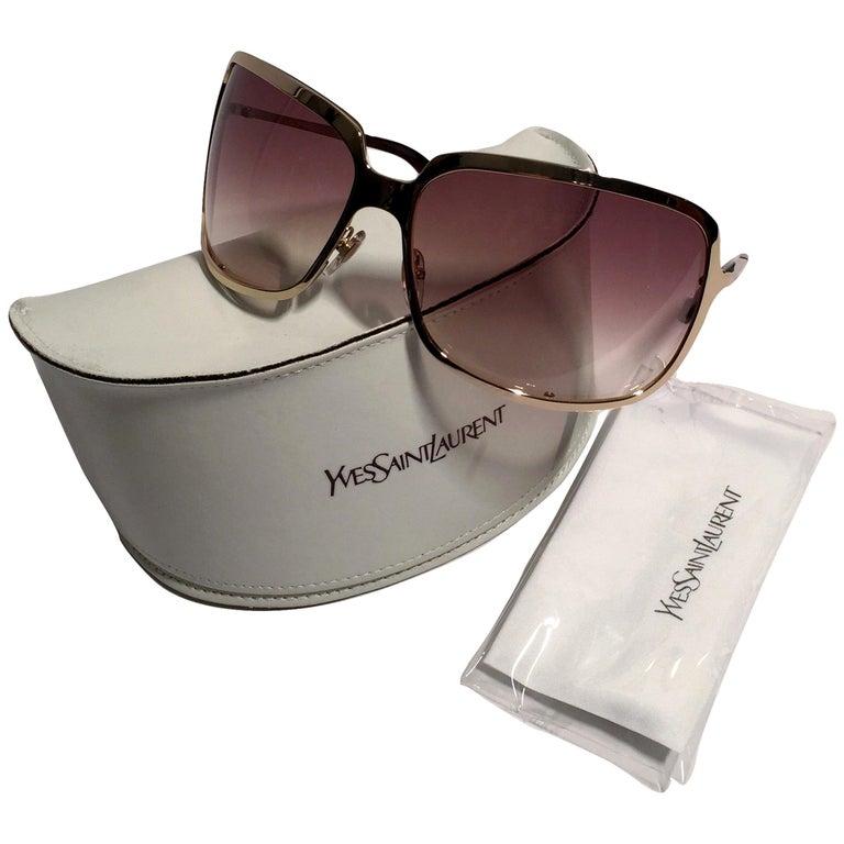 9ea823e4b New Yves Saint Laurent YSL Gold Wrap Sunglasses W/ Case For Sale at ...