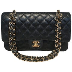 Chanel Black Caviar Medium 10inch 2.55 Double Flap Classic Shoulder Bag