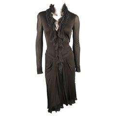 ROBERTO CAVALLI Size 4 Black Ruffled D V Neck Long Sleeve Dress