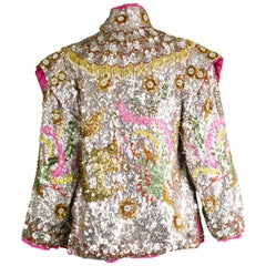 Vintage 1960s 'Dragon & Phoenix' Heavily Hand Beaded Silver Sequin Nehru Jacket