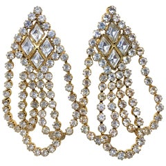 Circa 1960s William deLillo Goldtone and Clear Crystal Dangling Earrings
