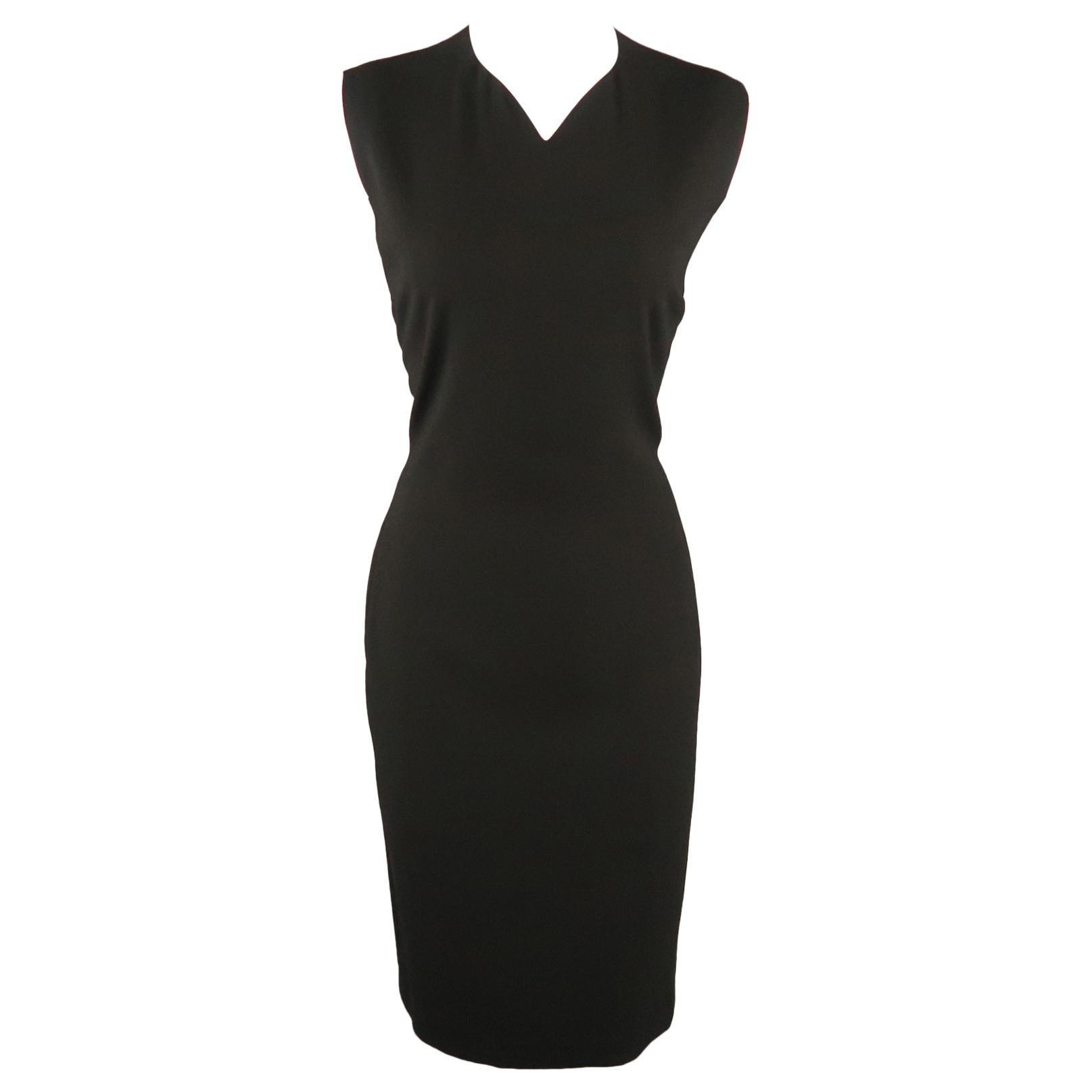PRADA Size M Black Draped Chiffon Silk Sleeveless Cocktail Dress