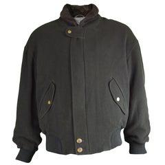 Allegri Men's Italian Wool & Cashmere Dark Green Vintage Bomber Jacket