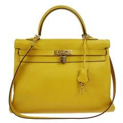 Hermes Kelly 35 Lemon Leather Top Handle Satchel Shoulder Tote Bag
