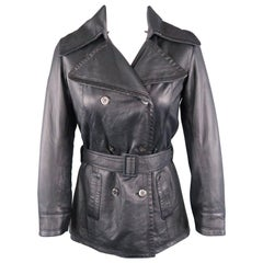 S.W.O.R.D Size 6 Navy Leather Double Breasted Belted Cropped Coat