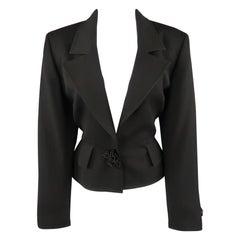 VALENTINO Size 12 Black Wool Jacket Cropped Applique Blazer Jacket