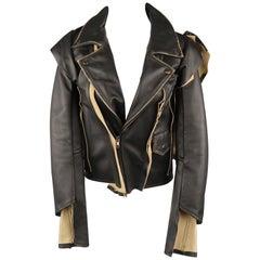 MAISON MARTIN MARGIELA X H&M Size 2 Black & Beige Desonstructed Biker Jacket