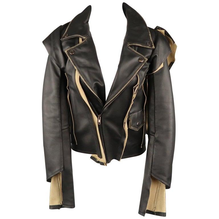 8bc01620ab4 MAISON MARTIN MARGIELA X H&M Size 2 Black & Beige Desonstructed Biker Jacket