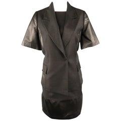 ROMAN Size 12 Charcoal Wool & Faux Leather 2 PC Dress Set