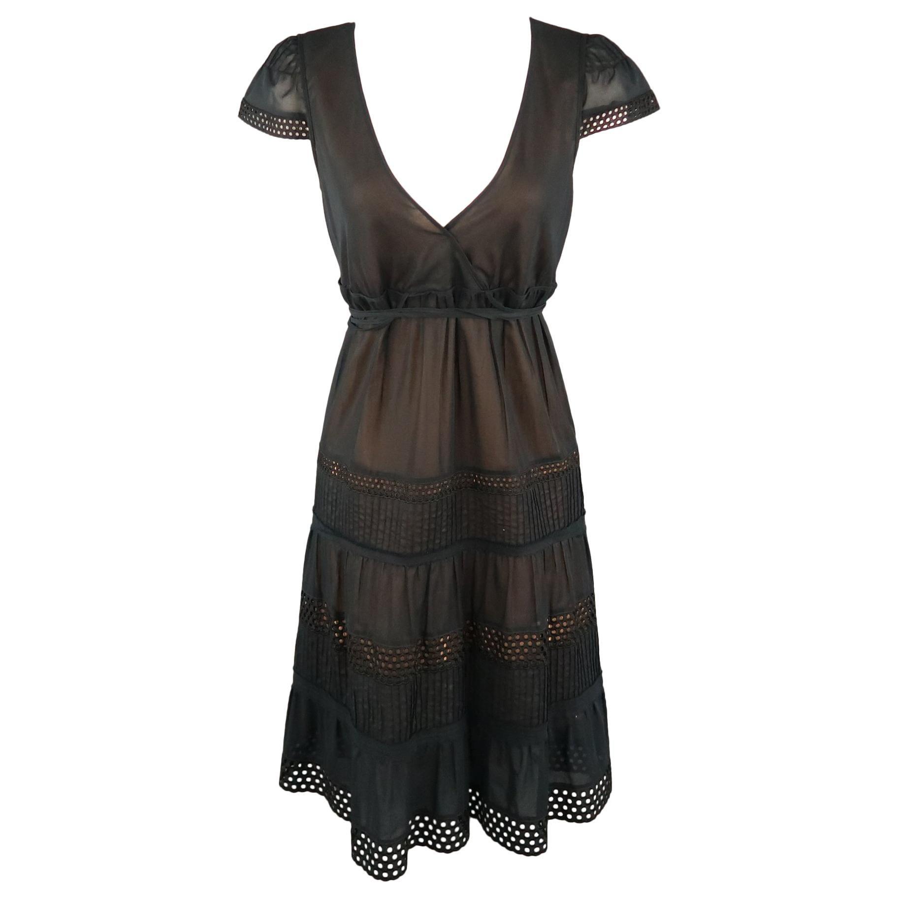AKRIS Size 8 Black Layered Skirt Peasant Dress