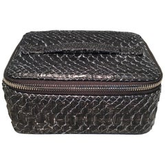 NWT Chanel Gray Python Snakeskin Jewelry Travel Pouch Case with Accessories