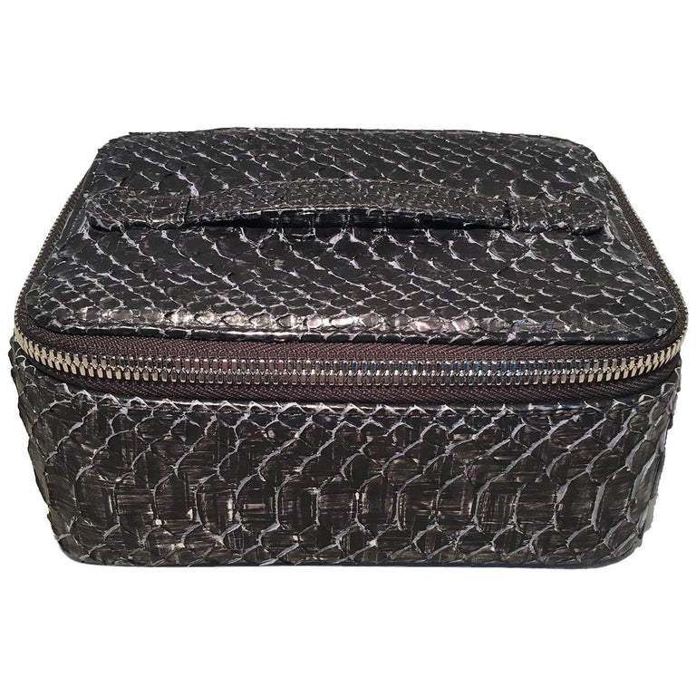 6242a191264eb7 NWT Chanel Gray Python Snakeskin Jewelry Travel Pouch Case with Accessories  For Sale