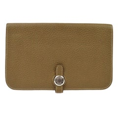 Hermes Tan Taupe Leather Silver Fold Over Flap Evening Wallet Clutch Bag