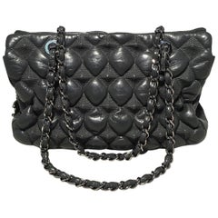 Chanel Grey Leather 3D Point Quilted Shoulder Bag Tote- Press Sample