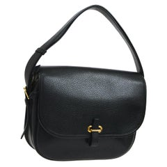 Hermes Black Leather Gold Evening Adjustable Strap Saddle Flap Shoulder Bag