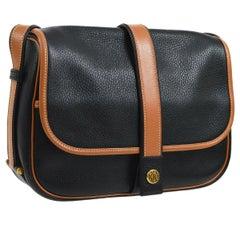 Hermes Black Cognac Leather Large Carryall Saddle Shoulder Flap Bag