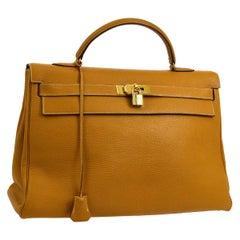 Hermes Kelly 40 Mustard Leather Top Handle Satchel Carryall Tote Flap Bag