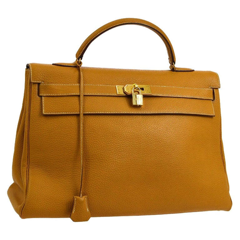 a0974e95f7e Hermes Kelly 40 Mustard Leather Top Handle Satchel Carryall Tote Flap Bag  For Sale