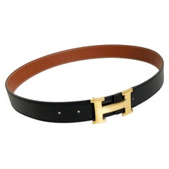 Hermes Constance Gold Buckle & Belt Strap Reversible Noir Natural 75cm