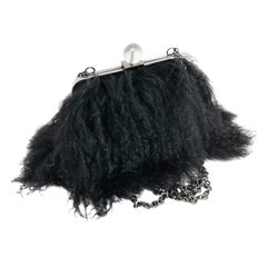 Iris Apfel Extinctions Black Mongolian Lamb Fur Shoulder Bag Clutch