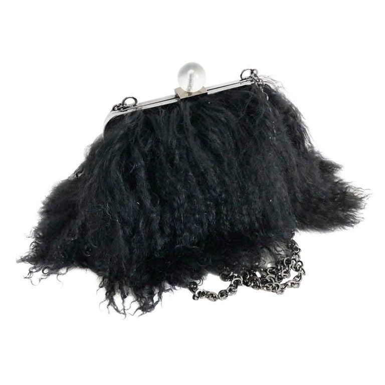Iris Apfel Extinctions Black Mongolian Lamb Fur Shoulder Bag Clutch  For Sale