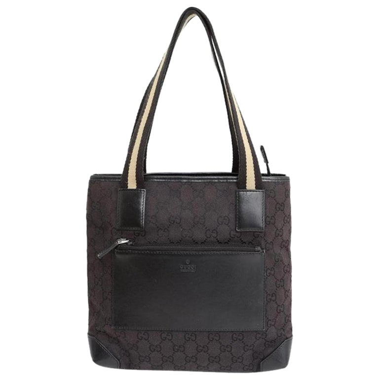 f88e19fcbbcd Gucci Monogram Gg Web Handle 228212 Brown Coated Canvas Tote For Sale
