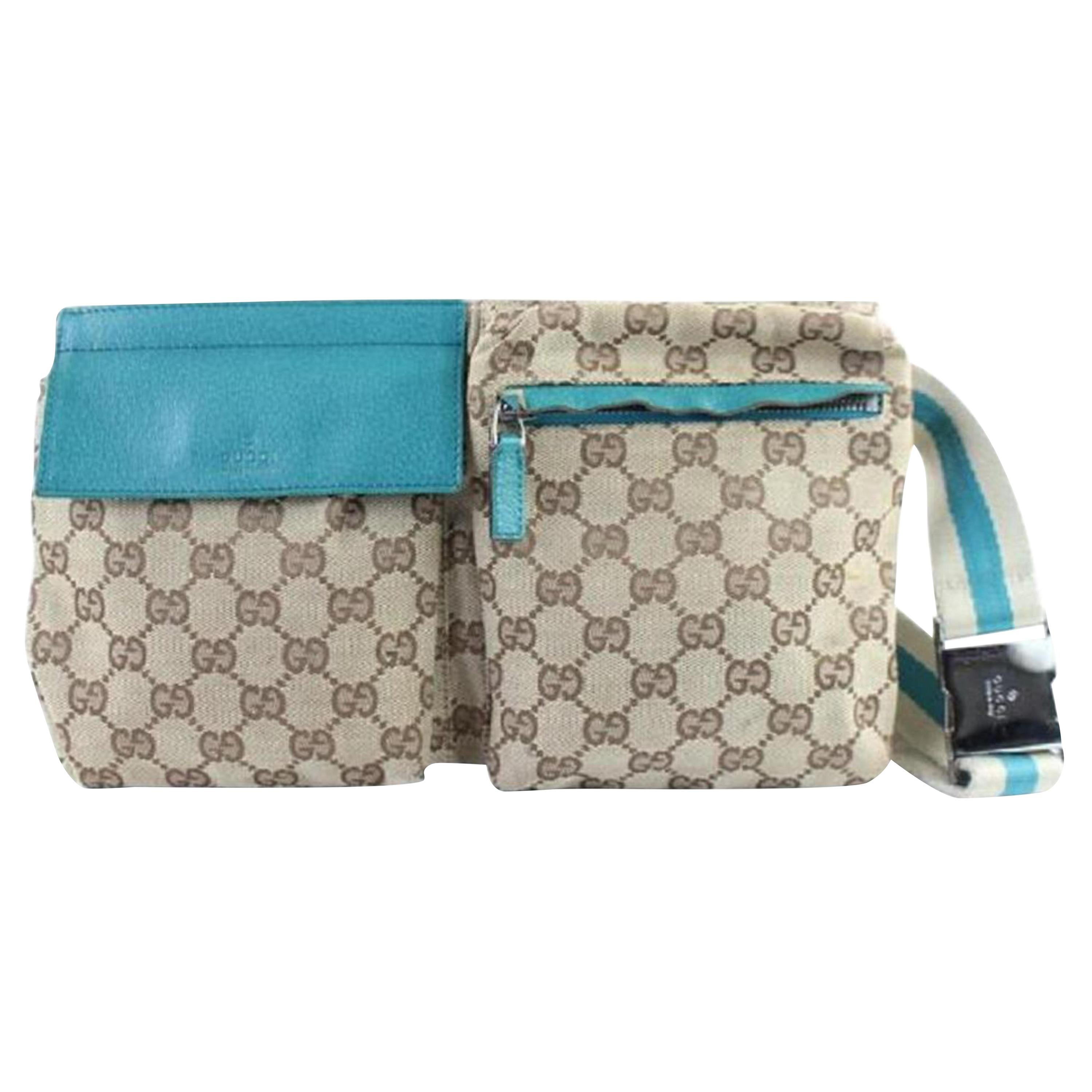 b42577d430c Gucci Blue Monogram Gg Fanny Pack Waist Pouch Belt 869510 Brown Coated  Canvas Cr For Sale at 1stdibs