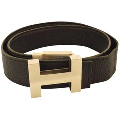 Hermès Brushed Silver (Ultra Rare) H Logo 228632 Belt