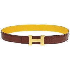 Hermès Yellow Reversible 24mm H Logo Kit 228631 Belt
