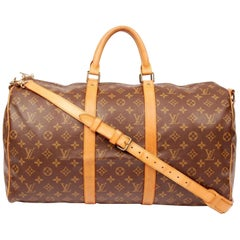 Louis Vuitton Keepall Monogram Bandouliere 50 228340 Brown Coated Canvas Weekend