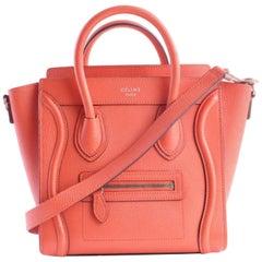 Céline Luggage Nano 2way 8cer0515 Vermillion Leather Satchel