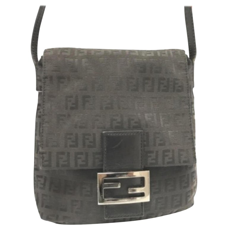 6884ffe11fd8 Fendi Ff Monogram 228034 Black Coated Canvas Cross Body Bag For Sale ...