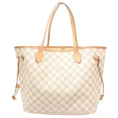 Louis Vuitton Neverfull Damier Azur Mm 869418 Whites Coated Canvas Tote
