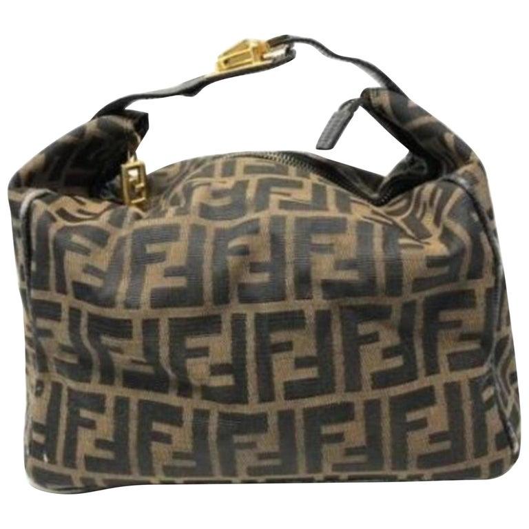 35c0a7be9891 Fendi Ff Zucca Belt Buckle Boston 228057 Brown Coated Canvas Shoulder Bag  For Sale