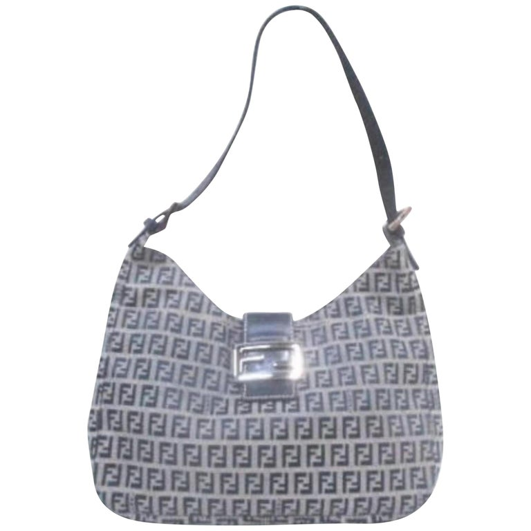 c4e7d2530d45 Fendi Ff Zucca Buckle Logo Hobo 228052 Navy Coated Canvas Shoulder Bag For  Sale