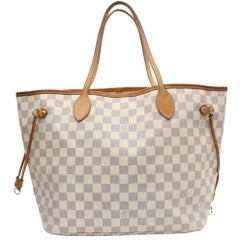 Louis Vuitton Neverfull Damier Azur Mm 869116 White Coated Canvas Tote