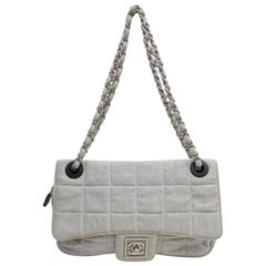 8f23068ea9b2 Chanel Classic Flap Quilted Chocolate Bar 868985 Gray Canvas Shoulder Bag