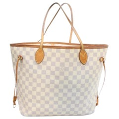 Louis Vuitton Neverfull Damier Azur Mm 868961 White Coated Canvas Tote