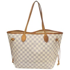 Louis Vuitton Neverfull Damier Azur Mm Everyday 868986 White Coated Canvas Tote