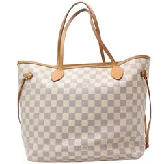 Louis Vuitton Neverfull Damier Azur Mm 868790 White Coated Canvas Tote