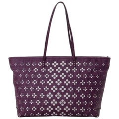 Fendi Perforated Laser Cut Out Tote 228077 Purple Coated Canvas Shoulder Bag