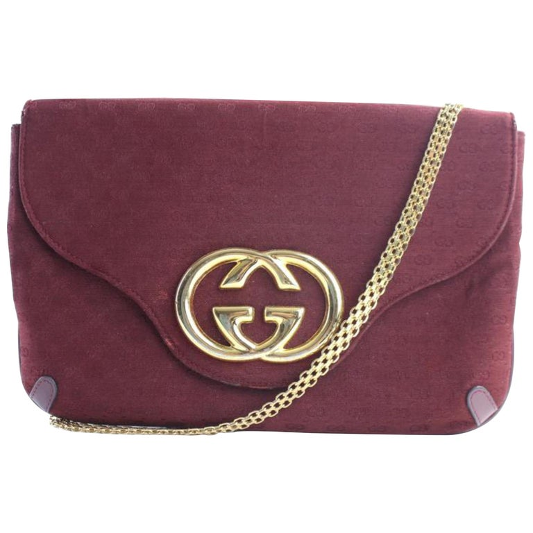 7ab465644d9dc2 Gucci Interlocking Chain Flap 3gr0515 Burgundy Coated Canvas Cross Body Bag  For Sale
