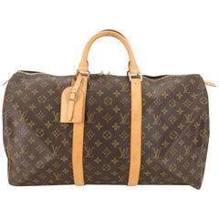 Louis Vuitton Keepall Monogram 50 868662 Brown Coated Canvas Weekend/Travel Bag