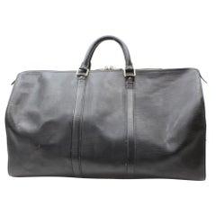 Louis Vuitton Keepall Duffle Noir 50 869589 Black Leather Weekend/Travel Bag