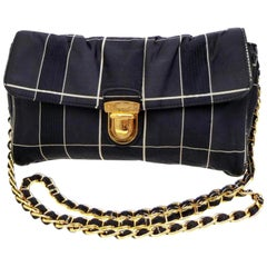 Prada Quilted Chain Flap 228162 Navy Silk Cross Body Bag
